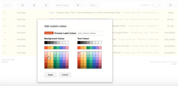 Colour code labels in Gmail | G Suite Tips